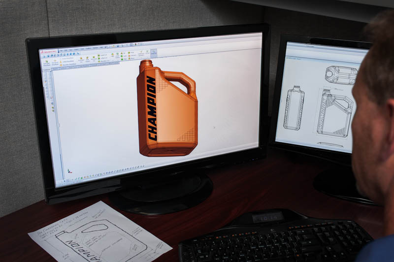 Creative Blow Mold Tooling's design professionals quickly commit your concepts to CAD (Computer Aided Design).
